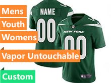 2019 Mens Women Youth Nfl New York Jets Green Nike Vapor Limited Custom Made Jersey