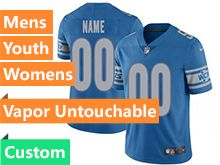 Mens Women Youth Nfl Detroit Lions Blue Custom Made Vapor Untouchable Limited Jersey