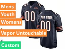 Mens Women Youth Nfl Chicago Bears Blue 100th Season Custom Made Nike Game Jersey