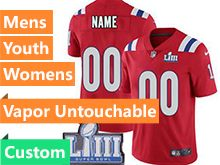 Mens Women Youth Nfl New England Patriots Red Custom Made Vapor Untouchable Limited Jersey