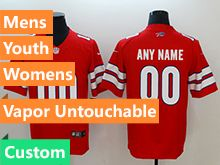 Mens Women Youth Nfl Buffalo Bills Red Custom Made Vapor Untouchable Limited Jersey