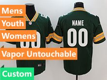 Mens Women Youth Nfl Green Bay Packers Green Custom Made Vapor Untouchable Limited Jersey