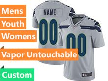 Mens Women Youth Nfl Seattle Seahawks Custom Made Gray Vapor Untouchable Limited Jersey