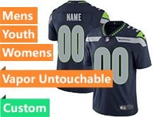Mens Women Youth Nfl Seattle Seahawks Custom Made Blue Vapor Untouchable Limited Jersey