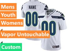 Mens Women Youth Nfl Seattle Seahawks Custom Made White Vapor Untouchable Limited Jersey