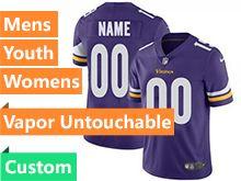 Mens Women Youth Nfl Minnesota Vikings Purple Custom Made Vapor Untouchable Limited Jersey