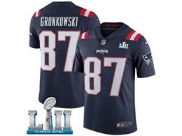 Mens Women New England Patriots #87 Rob Gronkowski Blue 2018 Super Bowl Lii Bound Vapor Untouchable Color Rush Limited Player Jersey