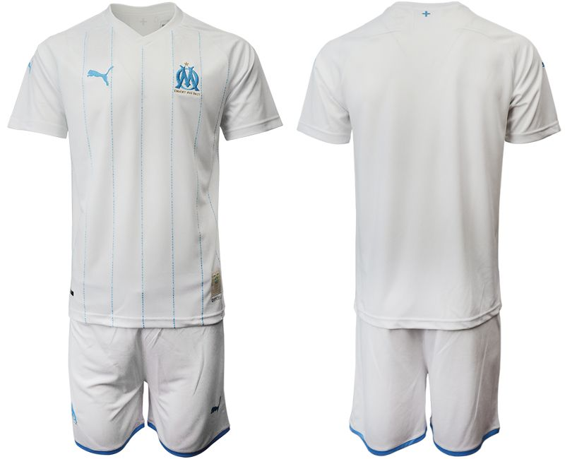 Mens 19-20 Soccer Olympique De Marseille Club Current Player White Home Short Sleeve Suit Jersey