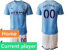 Mens 19-20 Soccer Manchester City Club Current Player Blue Home Short Sleeve Suit Jersey