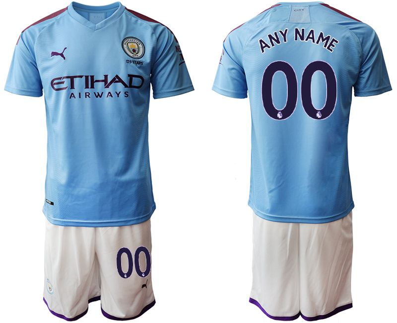 Mens 19-20 Soccer Manchester City Club ( Custom Made ) Blue Home Short Sleeve Suit Jersey