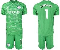 Mens 19-20 Soccer Manchester City Club 1 C.bravo Green Goalkeeper Short Sleeve Suit Jersey