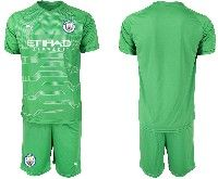 Mens 19-20 Soccer Manchester City Club Blank Green Goalkeeper Short Sleeve Suit Jersey