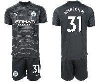 Mens 19-20 Soccer Manchester City Club #31 Ederson Black Goalkeeper Short Sleeve Suit Jersey