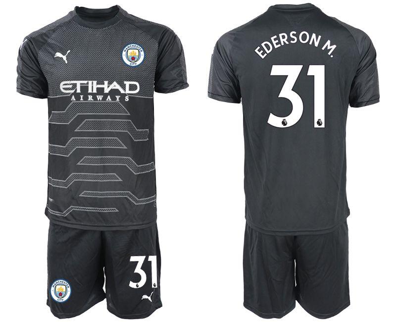Mens 19-20 Soccer Manchester City Club #31 Ederson Black Goalkeeper Short Sleeve Suit Jersey