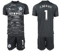 Mens 19-20 Soccer Manchester City Club 1 C.bravo Black Goalkeeper Short Sleeve Suit Jersey