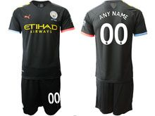 Mens 19-20 Soccer Manchester City Club ( Custom Made ) Black Away Short Sleeve Suit Jersey