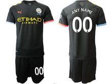 Mens 19-20 Soccer Manchester City Club ( Custom Made ) Black Away Short Sleeve Suit Jersey