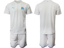 Mens 19-20 Soccer Olympique De Marseille Club ( Custom Made ) White Home Short Sleeve Suit Jersey