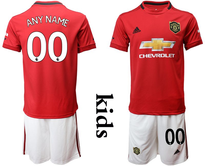 Kids 19-20 Soccer Manchester United Club (custom Made) Red Home Short Sleeve Suit Jersey