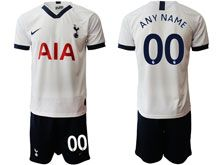 Mens 19-20 Soccer Tottenham Hotspur Club ( Custom Made ) White Home Short Sleeve Suit Jersey