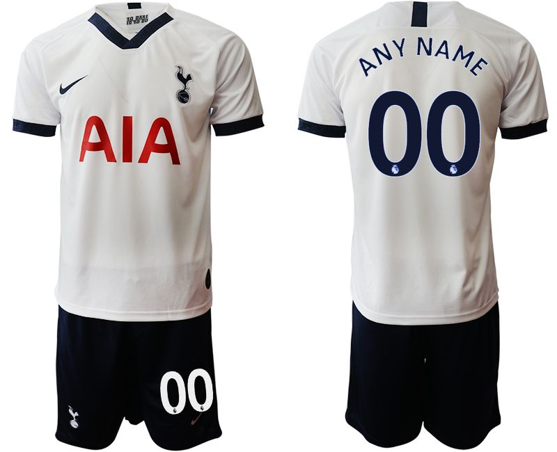 Mens 19-20 Soccer Tottenham Hotspur Club ( Custom Made ) White Home Short Sleeve Suit Jersey
