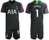 Mens 19-20 Soccer Tottenham Hotspur Club #1 Lloris Black Goalkeeper Short Sleeve Suit Jersey