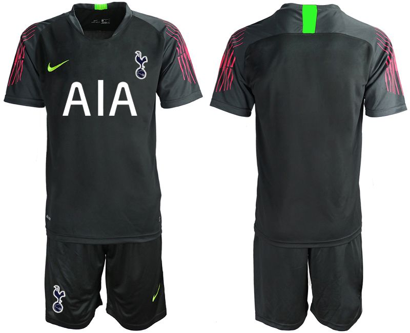 Mens 19-20 Soccer Tottenham Hotspur Club Blank Black Goalkeeper Short Sleeve Suit Jersey