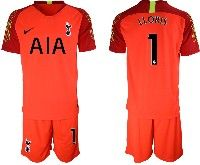 Mens 19-20 Soccer Tottenham Hotspur Club #1 Lloris Red Goalkeeper Short Sleeve Suit Jersey