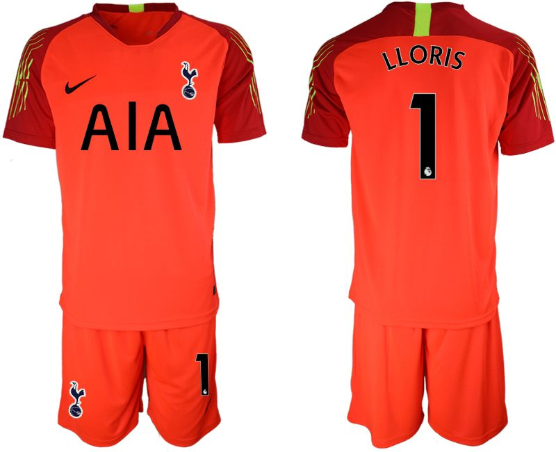 Mens 19-20 Soccer Tottenham Hotspur Club #1 Lloris Red Goalkeeper Short Sleeve Suit Jersey