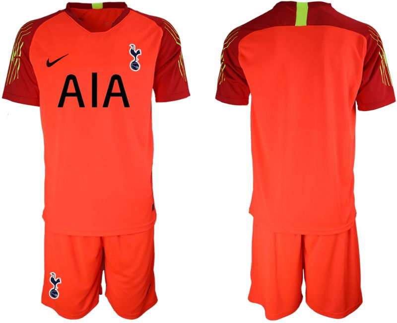 Mens 19-20 Soccer Tottenham Hotspur Club Blank Red Goalkeeper Short Sleeve Suit Jersey