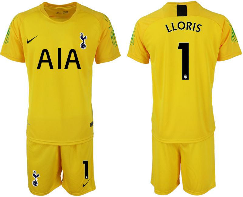 Mens 19-20 Soccer Tottenham Hotspur Club #1 Lloris Yellow Goalkeeper Short Sleeve Suit Jersey