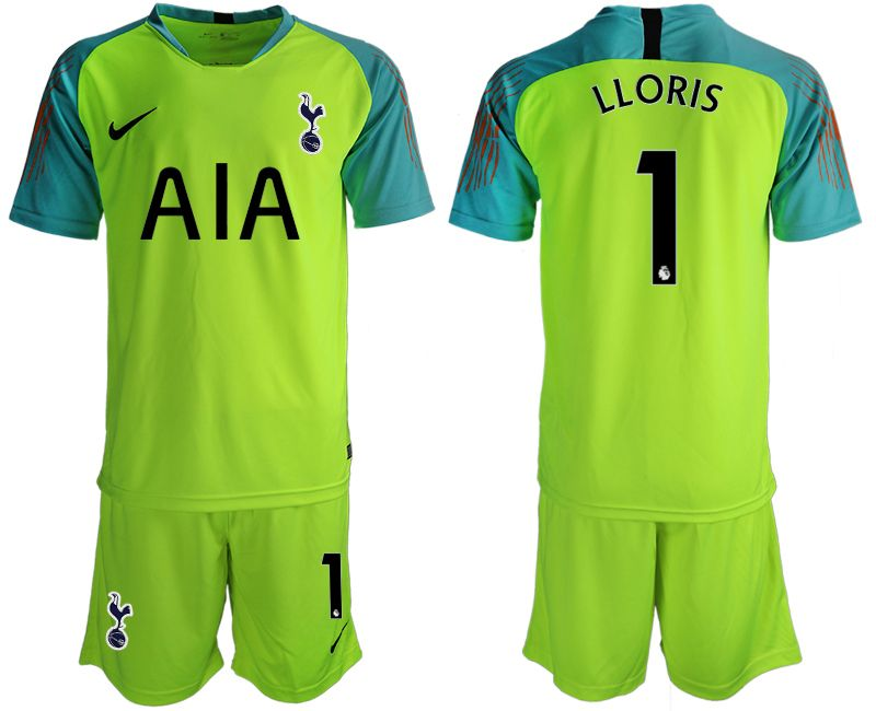Mens 19-20 Soccer Tottenham Hotspur Club #1 Lloris Green Goalkeeper Short Sleeve Suit Jersey