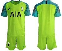 Mens 19-20 Soccer Tottenham Hotspur Club Blank Green Goalkeeper Short Sleeve Suit Jersey