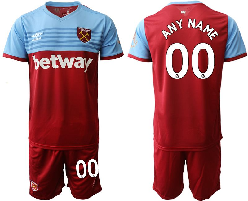 Mens 19-20 Soccer West Ham United Club Current Player Maroon Home Short Sleeve Suit Jersey