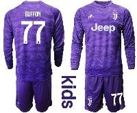 Kids 19-20 Soccer Juventus Club #77 Buffon Purple Goalkeeper Long Sleeve Suit Jersey