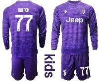 Kids 19-20 Soccer Juventus Club #77 Buffon Purple Goalkeeper Long Sleeve Suit Jersey