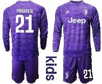 Kids 19-20 Soccer Juventus Club #21 Pinsoglio Purple Goalkeeper Long Sleeve Suit Jersey