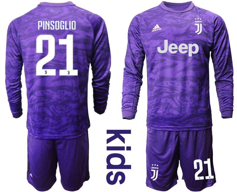 Kids 19-20 Soccer Juventus Club #21 Pinsoglio Purple Goalkeeper Long Sleeve Suit Jersey