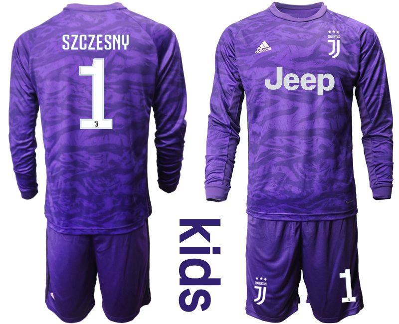 Kids 19-20 Soccer Juventus Club #1 Szczesny Purple Goalkeeper Long Sleeve Suit Jersey