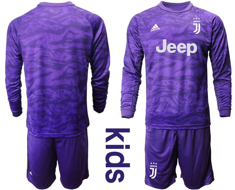 Kids 19-20 Soccer Juventus Club Blank Purple Goalkeeper Long Sleeve Suit Jersey