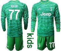 Kids 19-20 Soccer Juventus Club #77 Buffon Green Goalkeeper Long Sleeve Suit Jersey