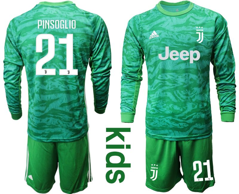 Kids 19-20 Soccer Juventus Club #21 Pinsoglio Green Goalkeeper Long Sleeve Suit Jersey