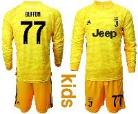 Kids 19-20 Soccer Juventus Club #77 Buffon Yellow Goalkeeper Long Sleeve Suit Jersey