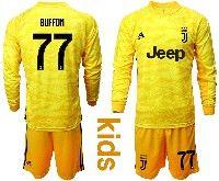 Kids 19-20 Soccer Juventus Club #77 Buffon Yellow Goalkeeper Long Sleeve Suit Jersey