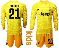 Kids 19-20 Soccer Juventus Club #21 Pinsoglio Yellow Goalkeeper Long Sleeve Suit Jersey