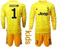 Kids 19-20 Soccer Juventus Club #1 Szczesny Yellow Goalkeeper Long Sleeve Suit Jersey