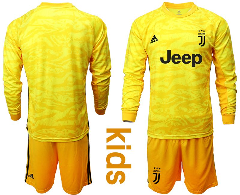Kids 19-20 Soccer Juventus Club Blank Yellow Goalkeeper Long Sleeve Suit Jersey