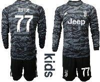 Kids 19-20 Soccer Juventus Club #77 Buffon Black Goalkeeper Long Sleeve Suit Jersey