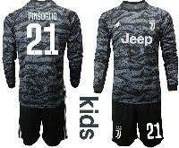Kids 19-20 Soccer Juventus Club #21 Pinsoglio Black Goalkeeper Long Sleeve Suit Jersey