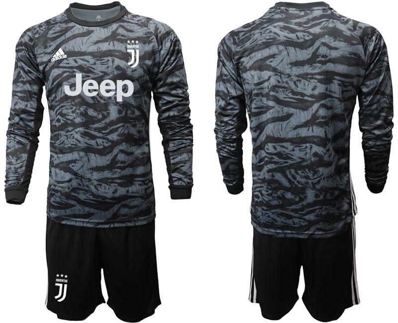 Mens 19-20 Soccer Juventus Club( Blank ) Black Goalkeeper Long Sleeve Suit Jersey